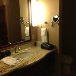 Bathroom vanity in deluxe room at 7 Feathers, with lighted make-up vanity mirror.