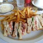Club sandwich and crinkle cut fries