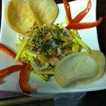 salade de mangue aux crevettes et poulet