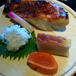 grilled mackerel and cod roe