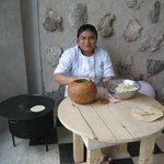 This lady is making fresh tortillas right in the main big room. Fun to watdch.