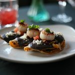 scallops with black bean taquitos