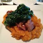 Duck breast over sweet potato puree & spinach