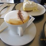 White chocolate cheesecake and a terrific cappuccino. Really special.