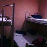 creaky bunk beds, no space in between beds