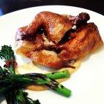 Crispy skinned chicken.
