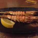 tiger prawn yakitori. you can eat the shell.