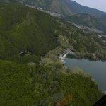 津風呂湖の上空から撮りました。