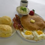 Hotcakes, eggs & homemade biscuits