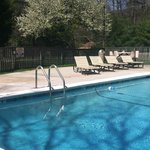 Take a relaxing dip in our heated outdoor pool surrounded by beautiful mountain scenery