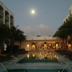 Full moon rising over the pool
