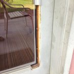 Exterior Patio Door with Exposed Sharp Screws