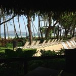 View of the beach and pool lounge chairs from the Diria Restaurant! Spectacular!
