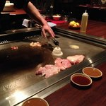 Hibachi grill built into the table