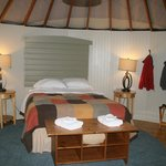 This is the insde of Yurt 2, wonderfully comfortable and rustic.