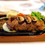 Prime ribeye steak, medium rare.