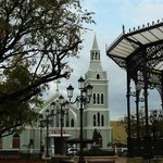 Catholic church and Christopher Colombus plaza Down town Aguada