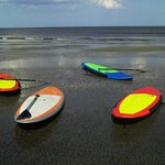 SSI SUP boards on the outer sand bar.