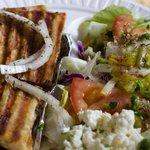 Kabob pita (?) with tossed salad