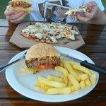 Amazing biltong pizza and Cheese burger