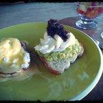 Eggs benedict and avo toast