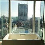 Bath tub + View from bathroom