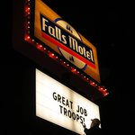 Good Job Troops on the Falls Motel sign