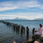 Meditating at the old pier of Puerto Natales