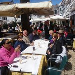 Our group in the sunshine of the outdoor patio