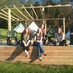 Decking area in glamping ground