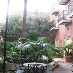 The courtyard...pool behind plants
