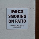 sign by patio door