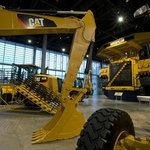 Several Cat machines are on display at the Caterpillar Visitors Center