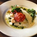 scallop, king prawn and chorizo with pea risotto