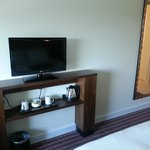 stand with tea/coffee facilities and modern tv