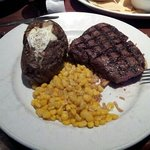 11oz sirloin, loaded baked potato & corn