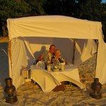 Enjoying a private bedouin at Pacific Resort Aitutaki