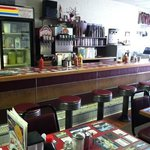 Inside the Diner, notice the countertops with embedded local ads:)