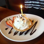 Complimentary salted chocolate birthday tart