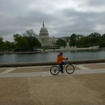 Riding past the Capitol Building.