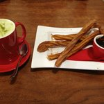 Green Tea Chai and Churros with Chocolate Sauce