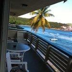 Condo balcony. Sliding door access from bedroom and kitchen.