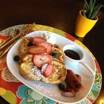 French toast with local H&S bread after a yogurt parfait with fruit and granola and a muffin