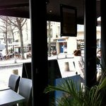 view from inside to the outdoor seating