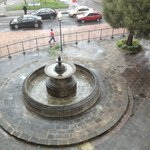fountain under repairs outside our window