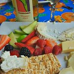 cheese plate with local wine