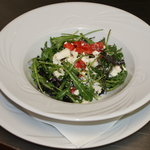 Goat's Cheese Salad, roasted Bell Pepper & Crumbly Goats Cheese tossed in green Leaves & dressed