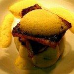 pan fried seabass on roast fennel,spring onion mash with saffron foam