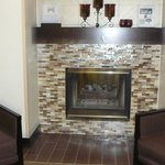 Lobby fireplace with glass tiles