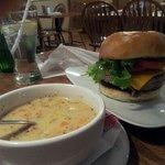 American burger & seafood chowder
